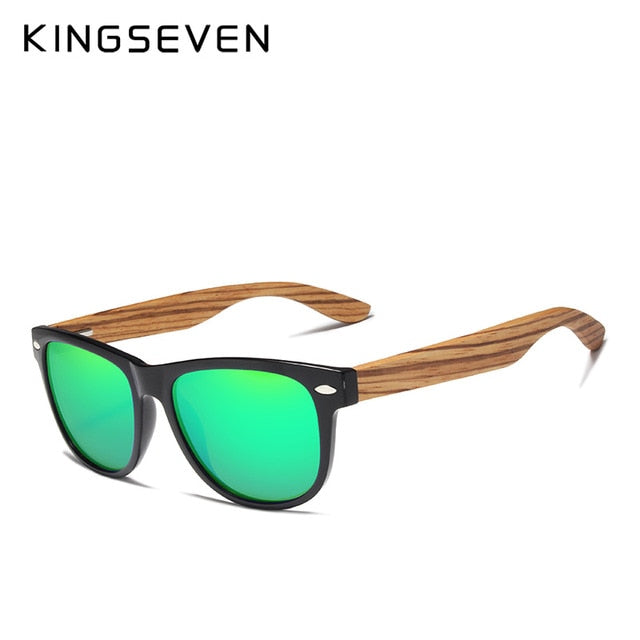 KINGSEVEN 2019 Zebra Natural Wood Polarized Sunglasses Mirror Lens Retro Wooden Frame Women Driving Sun Glasses Shades Gafas - Slabiti