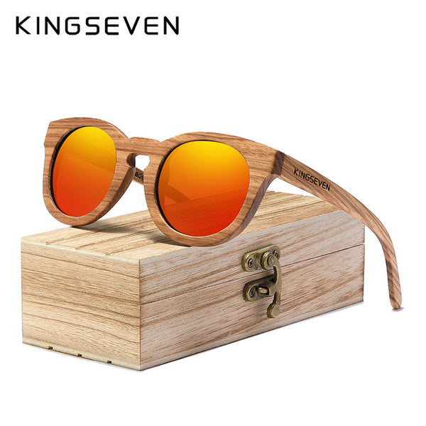 KINGSEVEN 2020 New Natural Wood Sunglassess Full Frame 100% Handmade Polarized Mirror Coating Lenses Eyewear Accessories - Slabiti