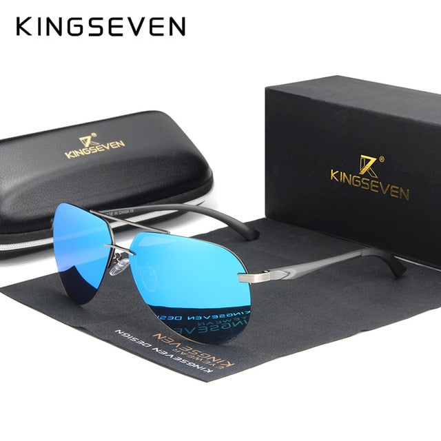KINGSEVEN Aluminum Magnesium Polarized Rimless Lens Sunglasses For Men High Definition Retro Eyewear Oculos de sol - Slabiti