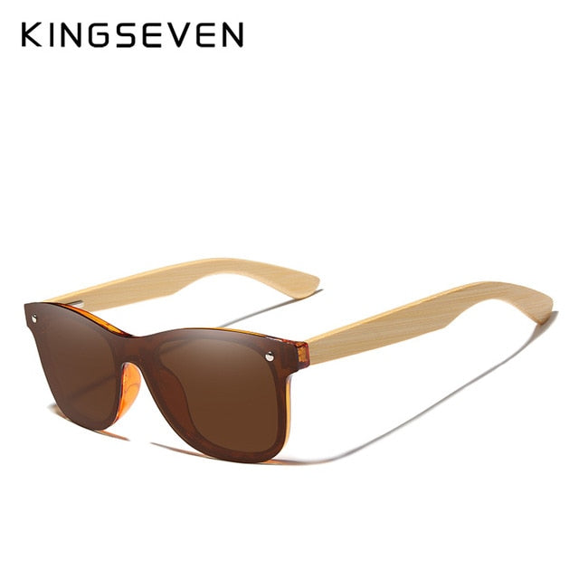 KINGSEVEN Brand Bamboo Temples Polarized Sunglasses Men Classic Square Goggle Fashion Retro Female Sun Glasses Custom logo - Slabiti