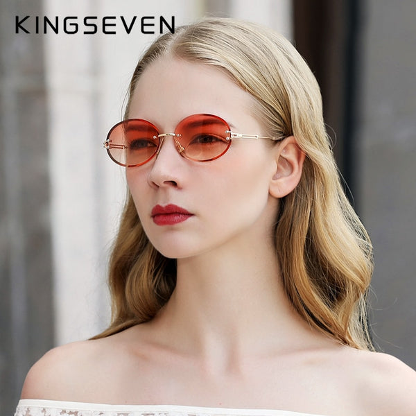 KINGSEVEN Brand Design Fashion Round Women Rimless Gradient Sunglasses Vintage Alloy Frame Classic Shades - Slabiti