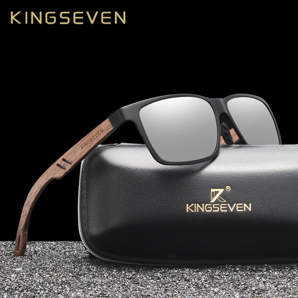 KINGSEVEN Brand New Design Aluminum+Walnut Wooden Handmade Sunglasses Men Polarized Eyewear Accessories Sun Glasses For Women - Slabiti