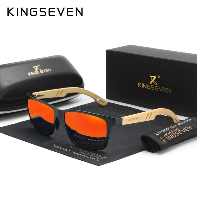 KINGSEVEN Brand Original Design Aluminum+Bamboo Natural Wooden Handmade Sunglasses Men Polarized Eyewear Sun Glasses For Women - Slabiti