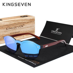 KINGSEVEN DESIGN 2018 Wooden Sunglasses For Men/Women High Quality Mirror Lens UV400 Classic Sun Glasses With Wooden Package - Slabiti