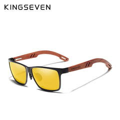 KINGSEVEN Design Handmade Natural Bubinga Wooden+Aluminum Sunglasses Men Polarized Fashion Sun Glasses Square UV400 Gafas De Sol - Slabiti