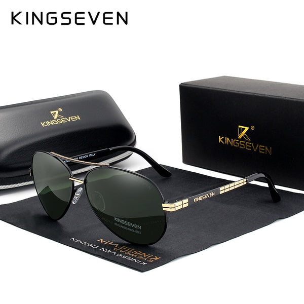 KINGSEVEN Design Men's Glasses Pilot HD Polarized Sunglasses For Men/Women Driving Sun Glasses With Emboss Logo Oculos De Sol - Slabiti