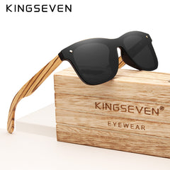 KINGSEVEN Gray Polarized Lens New Zebra Wood Sunglasses Women Men Luxury Brand Vintage Wooden Sun Glasses Retro Eyewear - Slabiti