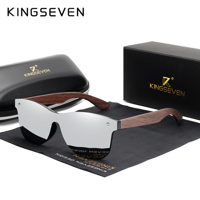 KINGSEVEN Handmade Sunglasses Men Polarized Walnut Wooden Eyewear Women Mirror Vintage Oculos de sol masculino UV400 - Slabiti