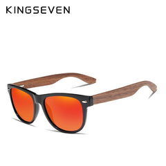 KINGSEVEN Red Mirror Wood Sunglasses Women Ladies Zebra Wood Bamboo Vintage Polarized Sunglasses For Men oculos de sol - Slabiti