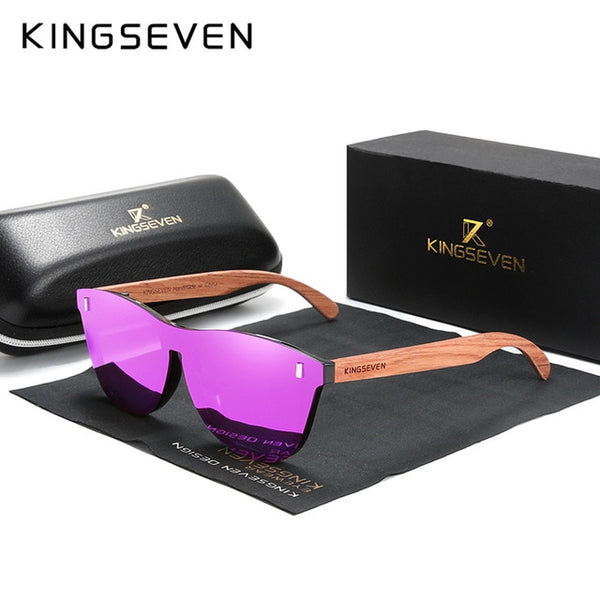 KINGSEVEN Women's Glasses Natural Bubinga Wooden Sunglasses Men Polarized Fashion Sun Glasses Original Wood Oculos de sol - Slabiti