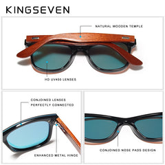 KINGSEVEN Wood Sunglasses Men Women Square Bamboo Women Mirror Sun Glasses Oculos de sol Masculino Handmade With Wooden Case - Slabiti