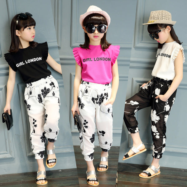 Kids Girls Clothing Sets Summer 2018 Girls Blouse Top & Chiffon Knickerbockers Pants 2 Pieces Set Children Clothes Black White - Slabiti