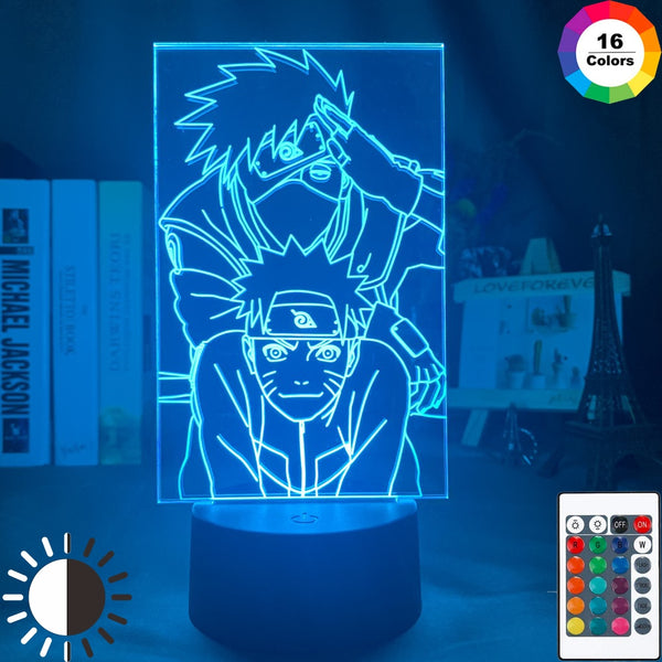 Kids Night Light Naruto Uzumaki Naruto and Kakashi Nightlight for Room Decorative LED Night Lamp Manga Gift for Child Boys - Slabiti