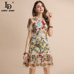 LD LINDA DELLA New 2019 Fashion Runway Summer Dress Women's Flare Sleeve Floral Embroidery Elegant Mesh Hollow Out Midi Dresses - Slabiti