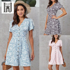 LOUIS JASON Women Dress Printed Sexy Dress Women Vestidos Party Dresses Sukienki V-neck Short Sleeve High Waist A-shaped Skirt - Slabiti