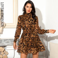 LOVE&LEMONADE Brown Turtleneck Ribbon Lantern Leopard Chiffon Long Sleeve Puffy Dress LM82185 - Slabiti
