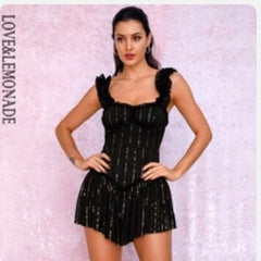 LOVE&LEMONADE Nude Tube Top Sling Compound Sequin Material Slinky Ruffled Party Playsuit LM81256A - Slabiti