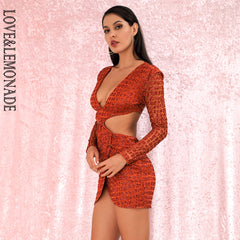 LOVE&LEMONADE Sexy Orange Deep V-neck Open back Cross glitter glued Material Slim Fit Party Dress LM82065-2 Autumn/Winter - Slabiti