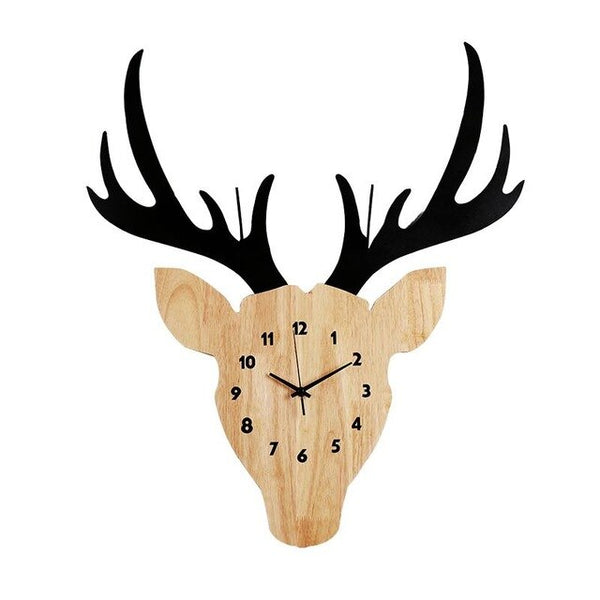 Large Silent Wall Clock Mordern Design Cool Rural Wooden Deer Head Clock Wall Decoration For Living Room Bedroom - Slabiti