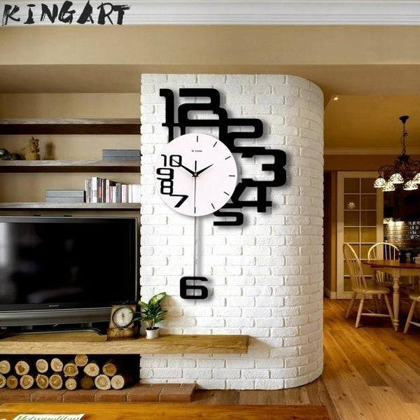 Large Wall Clock 3D Hanging Wall Watch Big Decorative Modern Design Wall Clocks Home Decor Digital Big Clock Bedroom Wall Decor - Slabiti