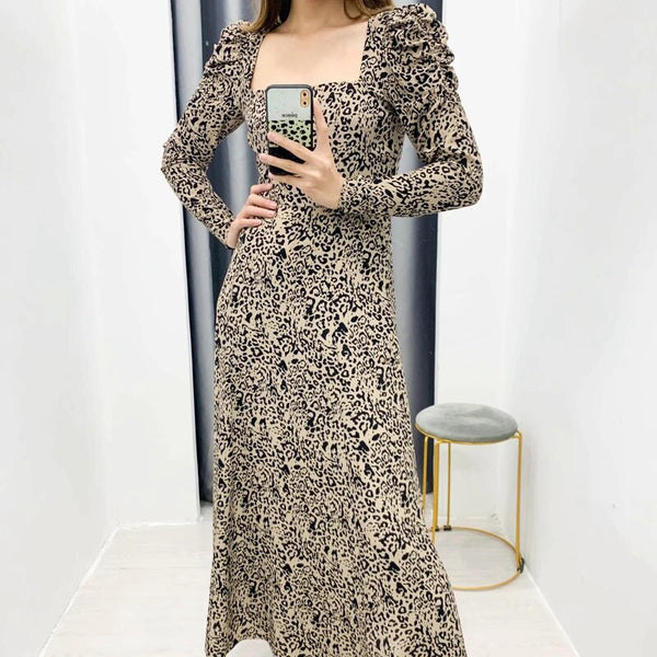Leopard Dress 2020 Women Vintage Long Dress  Long Sleeve Deep V-neck A-line Sexy Party Dress Vestidos de fiesta  Muslim Dress - Slabiti