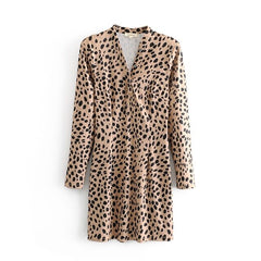 Leopard Dress Deep V-Neck Women Leopard Clothes Short Leopard Print Dress Long-Sleeve Dress Bodycon W6912 - Slabiti