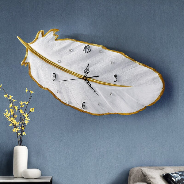 Light luxury feather wall clock living room home simple modern wall clocks bedroom wall clocks creative mute clock - Slabiti