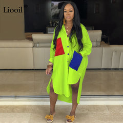 Liooil Patchwork Loose Maxi Shirt Dress New Arrival 2020 Plus Size Green Dress Sexy Club Wear Long Dresses Woman Party Night - Slabiti