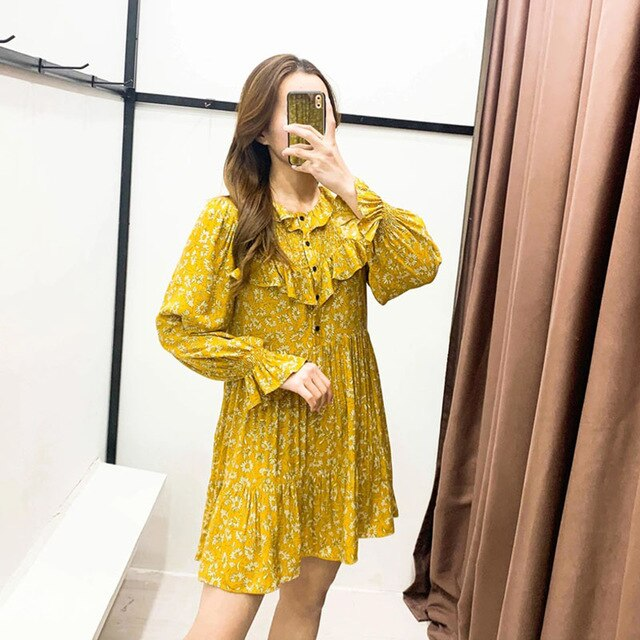 Long Sleeve 2020 Autumn Winter Dress Women Short Party Ruffles Femme Elegant Yellow Ladies Dress Vestidos - Slabiti