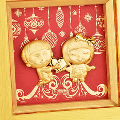 Love photo Cartoom couple Ornament Gold Foil Framed Pictures Wedding decor Desktop  framed painting Anniversary gifts Home Decor - Slabiti