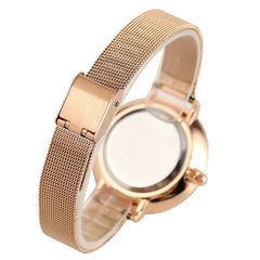 Lovely Sailor Moon Rose Gold Round Dial Women's Watch Stainless Steel Watchband Hook Buckle Lady Wristwatches - Slabiti