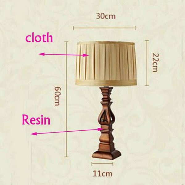 Luxury American style table lamp fabric lampshade resin stand bedroom bedside stduy room simply European desk lamp light fixture