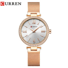 Luxury Brand CURREN Fashion Stainless Steel Bracelet Women Watches Ladies Dress Rhinestone Quartz Female Clock reloj mujer Gift - Slabiti