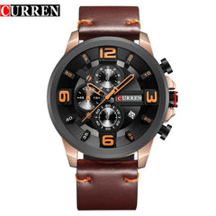 Luxury Brand CURREN New Fashion Sports Wristwatch High Quality Leather Strap Chronograph Male Clock Calendar Casual Men Watches - Slabiti