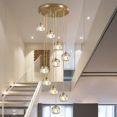 Luxury K9 Crystal ball Pendant Lights Nordic 1-15 heads Hanging Lamp fordining room Kitchen stairs Home suspension Light Fixture - Slabiti