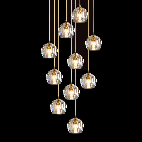 Luxury K9 Crystal ball Pendant Lights Nordic 1-15 heads Hanging Lamp fordining room Kitchen stairs Home suspension Light Fixture