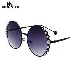 Luxury Oversized Round Sunglasses Women Fashion Cat Eye Pearl Sunglasses Vintage Brand Designer Sun Glasses Points Metal Frame - Slabiti