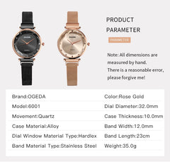 Luxury Rose Gold Women Watches Fashion Diamond Ladies Mesh Magnet Watch 30M Waterproof Female Wristwatch for Gift Clock 2019 - Slabiti