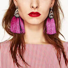 MANILAI 4 Colors Fashion Rhinestones Long Tassel Statement Earrings For Women Wedding Bohemia Drop Dangle Earring Fringed - Slabiti