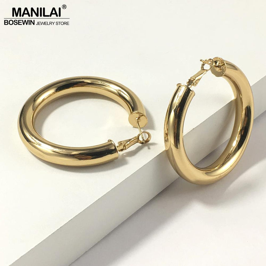 MANILAI 45mm Diameter Wide Copper Hoop Earrings Jewelry Punk Statement Earrings For Women Brincos Wholesale Gift - Slabiti