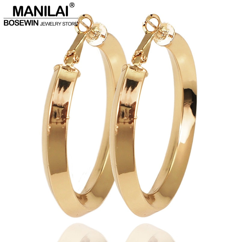 MANILAI 50mm Diameter Copper Hoop Earrings Fashion Circular Statement Big Earrings For Women High Quality Jewelry Brincos - Slabiti