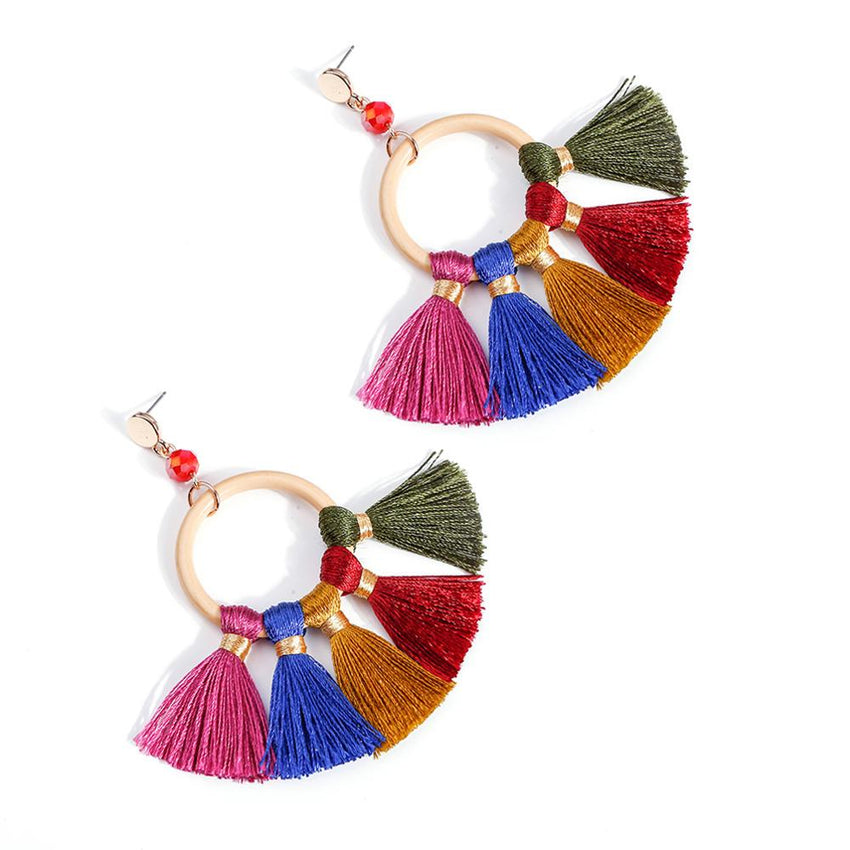 MANILAI Big Circular Dangle Earrings Handmade  With Wide Tassels Earrings Bohemian Jewelry Statement Drop Earring Ethnic Girl - Slabiti