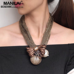 MANILAI Big Simulated Pearl Pendants Necklaces For Women Crystal Beads Ball Flower Statement Necklace Jewelry Handmade Choker - Slabiti