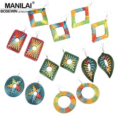 MANILAI Bohemia Coconut Shell Dangle Earrings For Women Handmade Charm Weaving Rope Statement Earrings Wooden Jewelry - Slabiti