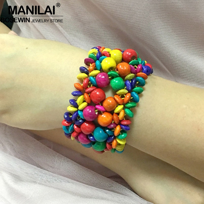 MANILAI Bohemian Handmade Wood Bead Bracelet For Women Multicolor Charm Statement Stretch Bracelets Bangles Beach Jewelry Gift - Slabiti