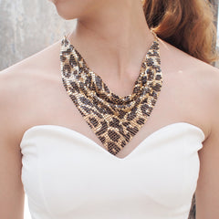 MANILAI Fashion Shining Metal Slice Leopard Choker Necklaces For Women Party Wedding Jewelry Accessories Indian Necklace 2019 - Slabiti
