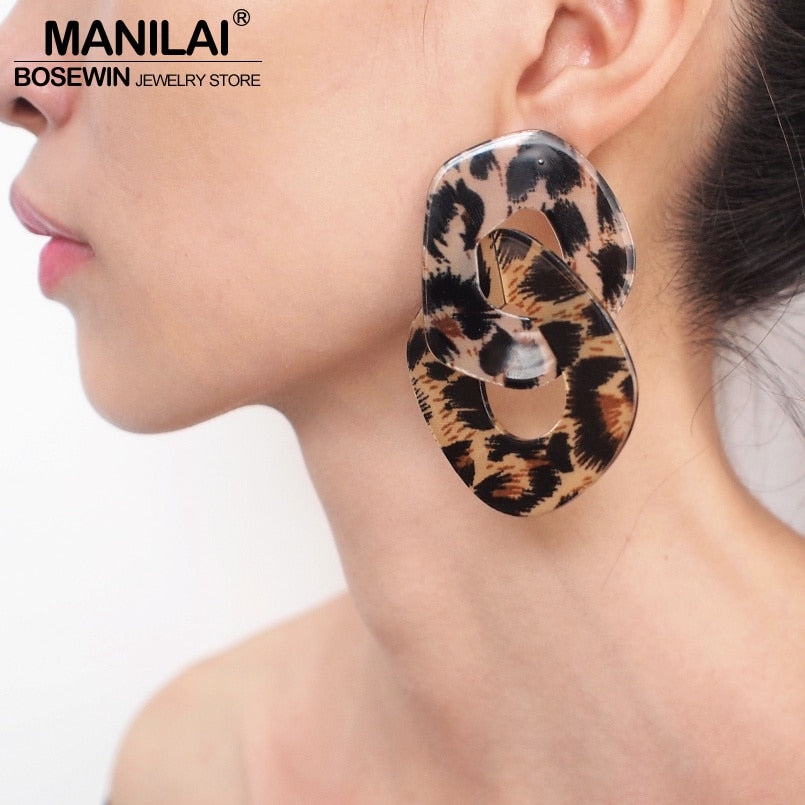 MANILAI Geometric Charm Leopard Grain Acrylic Dangle Big Earrings Women Fashion Jewelry Statement Earrings For Party Wholesale - Slabiti