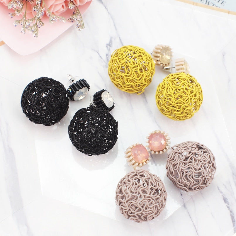 MANILAI Hollow Round Metal Ball Dangle Earrings Women Vintage Resin Big Statement Earrings Geometric Jewelry Gift Brincos 2019 - Slabiti