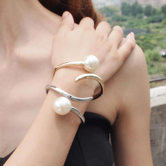 MANILAI Imitation Pearl Bracelets For Women Accessories Fashion Metal Geometry Cuff Bangles Statement Jewelry Wholesale Gift - Slabiti