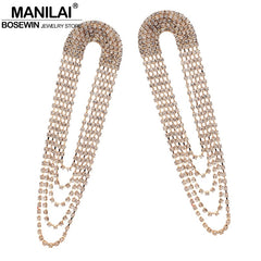 MANILAI Luxury Shiny Rhinestone Long Earring New Statement Tassel Earrings For Women Wedding Party Fashion Jewelry - Slabiti